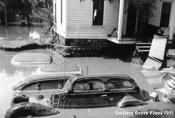 1951 flood cars with silt on top