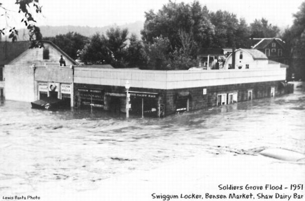 1951 flood: Swiggum locker and Shaw dairy bar